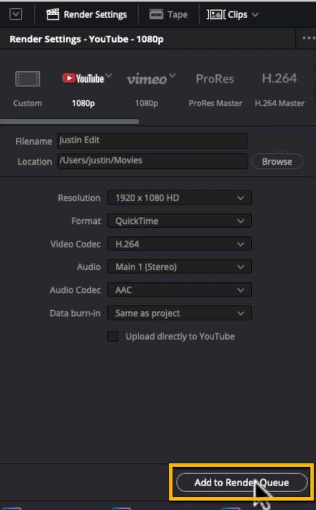 Render Video DaVinci Resolve