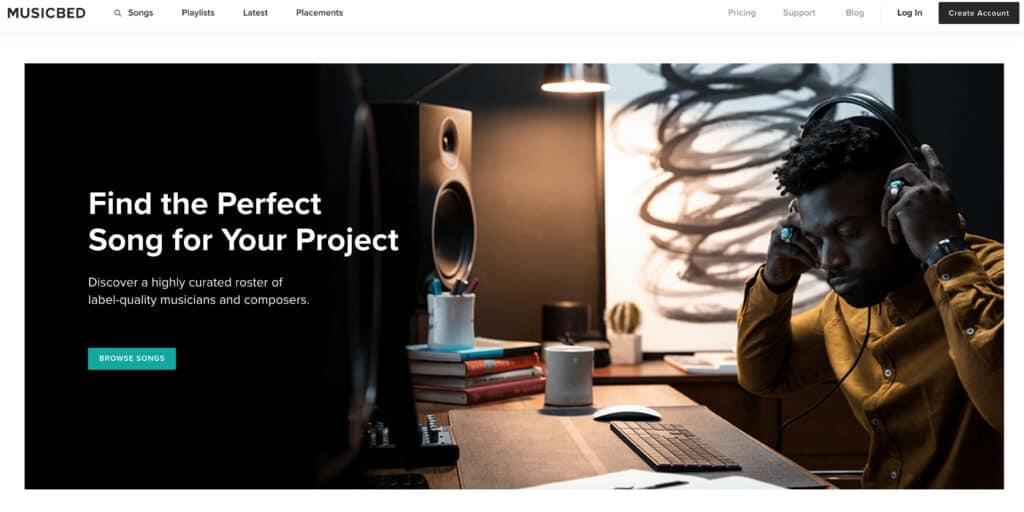 Musicbed's website