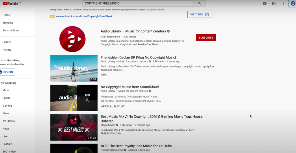 Search for 'Copyright Free Music' on YouTube