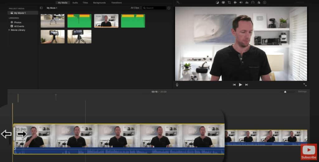 Trim off unwanted footage by adjusting the timeline