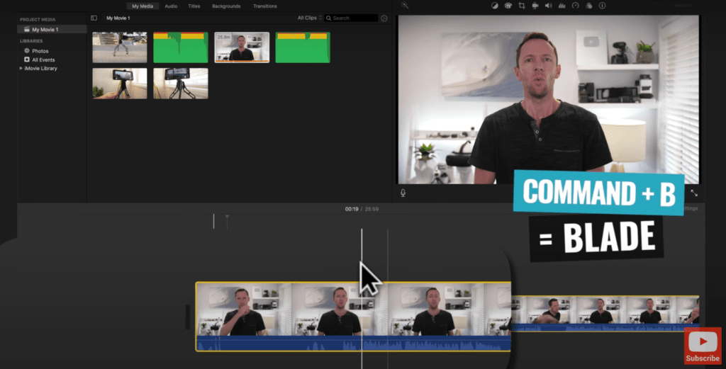 Trim off unwanted footage with the Blade Tool