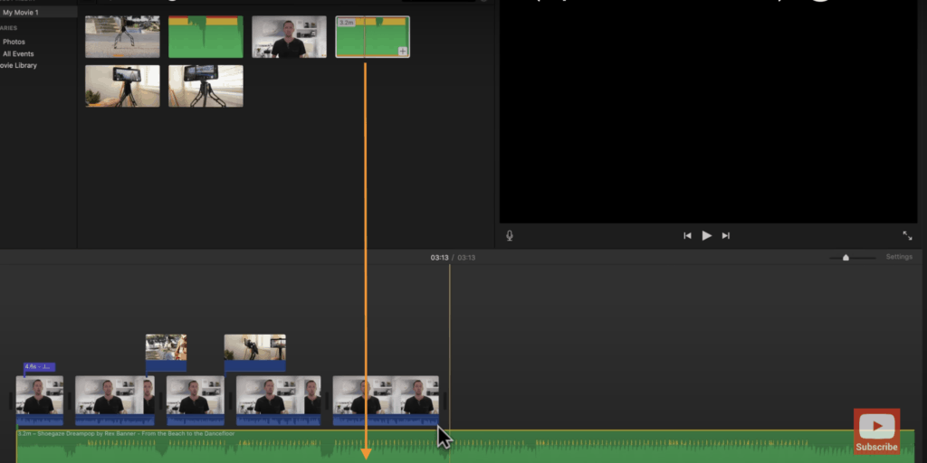 Drag your audio track onto the Timeline