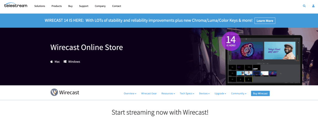 Wirecast's Website