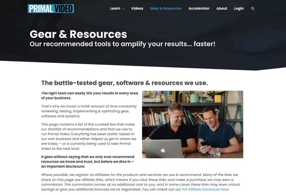Creating a resources page is an awesome way to collate all of your recommended products in the one place