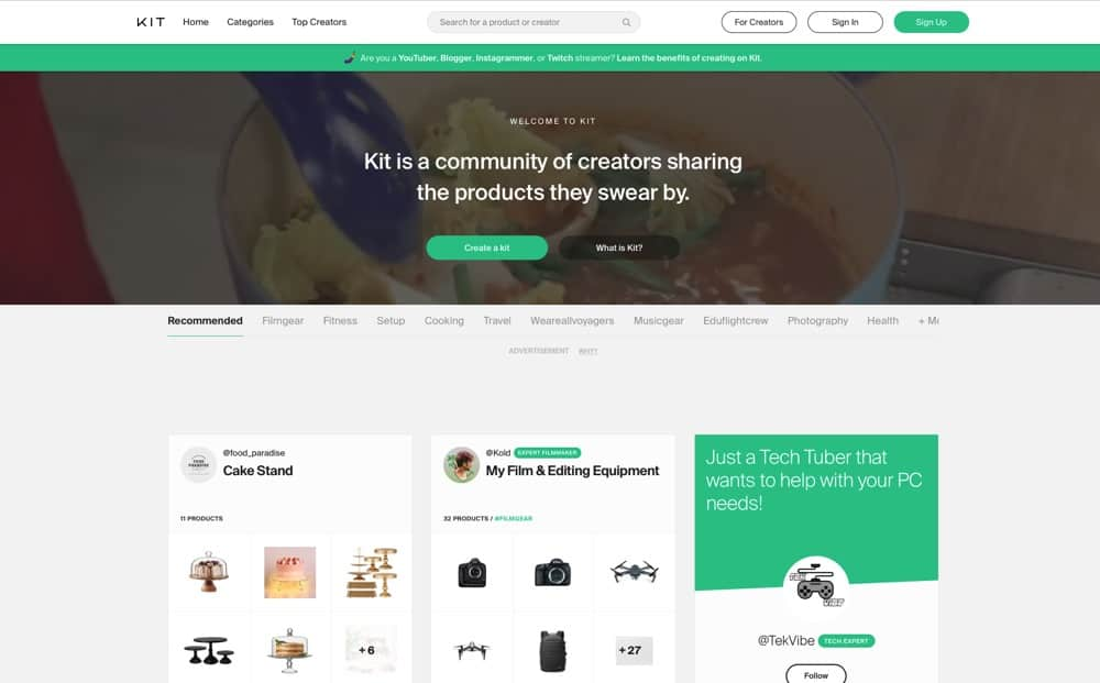 Kit is an awesome free affiliate marketing tool that allows you to share your recommended tools